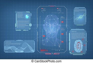 Biometric Identification or Recognition System of Person. The facial recognition technology Fingerprint, Voice. Recognition System Concept Authentication . Set HUD GUI UI Elements. Vector