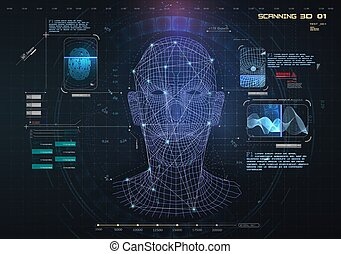 Biometric Identification or Recognition System of Person. The facial recognition technology Fingerprint, Voice. Recognition System Concept Authentication . Set HUD, GUI, UI, 3D Elements. Vector