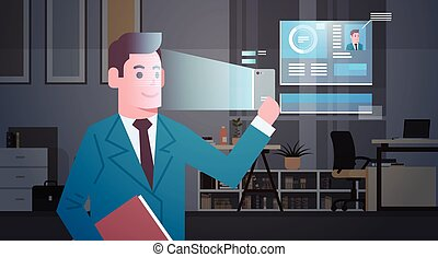 Biometric Identification System Scanning Business Man Face Modern Recognition Security System Concept