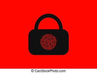 Biometric lock with fingerprint identification of a person.