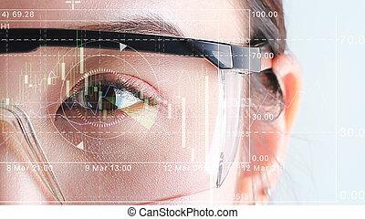 Biometric of a scientist with futuristic graphics.
