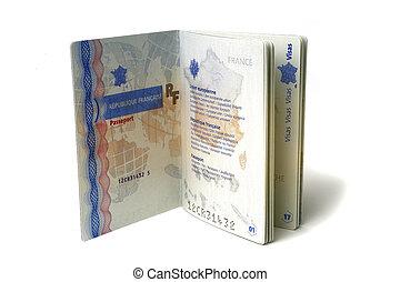 biometric passport - biometric French passport in studio on ...