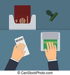 Biometric passport control, fingerprint check