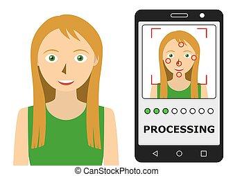 biometric, recognition., facial, identification.