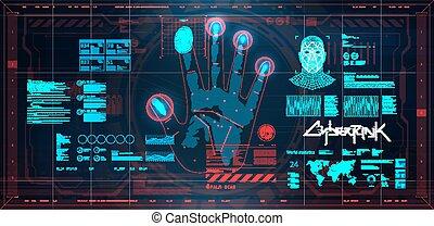 Biometric recognition system. Futuristic scanning - ...