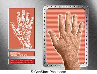 biometric scan: human hand undergoing bio scan or...
