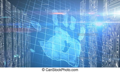 Animation of biometric identity over data processing. Global networking and connection concept digitally generated image.