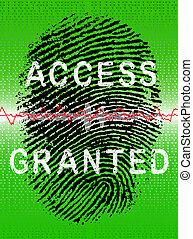 biometric, vert, scanner, empreinte doigt