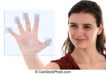 Biometrics - business woman using a biometric decoder on ...