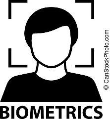 biometrics face recognition black symbol - illustration for...