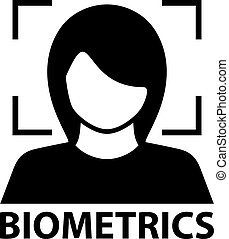biometrics face recognition black symbol - illustration for...