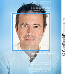 Biometrics, male - Man face with lines from a facial...
