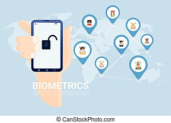 Biometrics Scanning Concept Hand Hold Smart Phone Over World...
