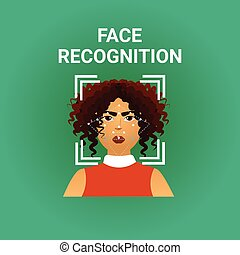 Biometrics Scanning Face Recognition Of Female Icon Modern ...