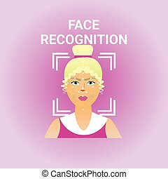 Biometrics Scanning Face Recognition Of Female Icon Modern...
