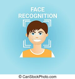 Biometrics Scanning Face Recognition Of Male Icon Modern ...
