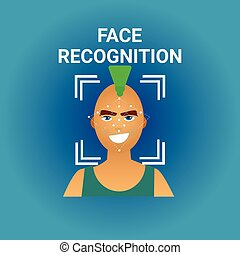 Biometrics Scanning Face Recognition Of Male Icon Modern...