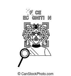 Biometrics Scanning Icons Set Face Recognition Concept ...
