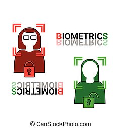 Biometrics Scanning Of Face Woman Icon Facial Recognition ...