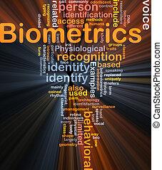 biometrics, woord, wolk, doosje, verpakken
