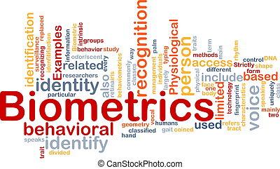 Biometrics word cloud - Word cloud concept illustration of ...