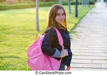 biondo, capretto, studente, ragazza, parco