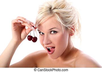 biondo, con, ciliegia, isolato, in, bianco