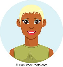 biondo, donna, americano, africano, avatar