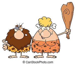 biondo, donna, coppia, caveman