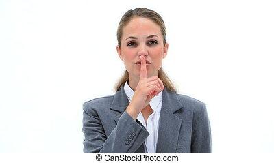 biondo, donna d'affari, chiedere, per, silenzio