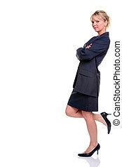 biondo, donna d'affari, in, completo, sporgente