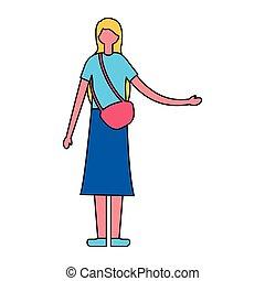 biondo, donna stando piedi