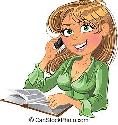 biondo, donna telefono, e, libro