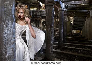 biondo, donna, vestire, bianco, sensuale