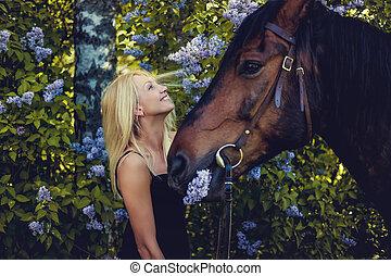 biondo, femmina, proposta, con, horse.