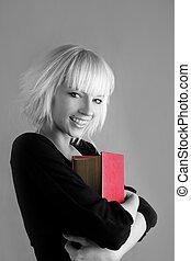 biondo, moda, studente, presa a terra, libro rosso