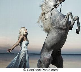 biondo, ninfa, proposta, con, maestoso, cavallo