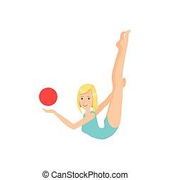 biondo, professionale, ginnastiche ritmiche, sportiva, in, leotard blu, compiendo, un, elemento, con, palla, apparato