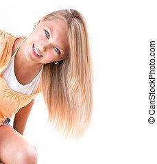 biondo, ragazza, con, occhi blu, sopra, sfondo bianco
