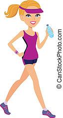 biondo, ragazza, preparare, per, maratona