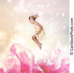 biondo, ragazza, saltare, (fantasy)