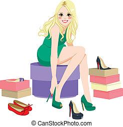 biondo, ragazza, tentando, scarpe