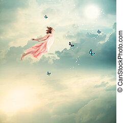 biondo, ragazza, volare, con, farfalle