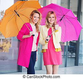 biondo, ragazze, colorito, ombrelli