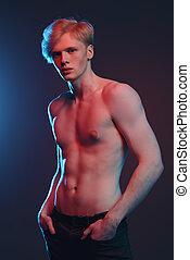 biondo, shirtless, tipo