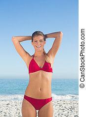 biondo, sorridente, bikini, attraente, proposta