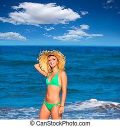 biondo, turista, ragazza, in, uno, tropicale, estate, spiaggia