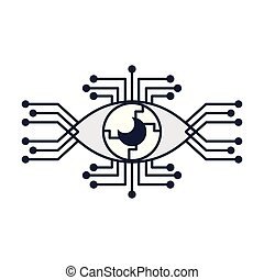 Bionic eye technology in black and white vector illustration...