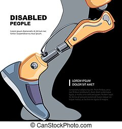 Bionic foot - Artificial limb for the right foot. Template...