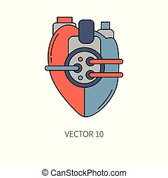 Bionic heart prosthesis color line icon. Bionic prosthesis. Biotechnology futuristic medicine. Future technology. Medical artificial mechanical robot implant sign and symbol. Transplantation. Cyborg.